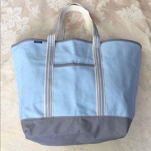 Lands' End X-Large Blue/Gray Canvas Zip-Top Bag